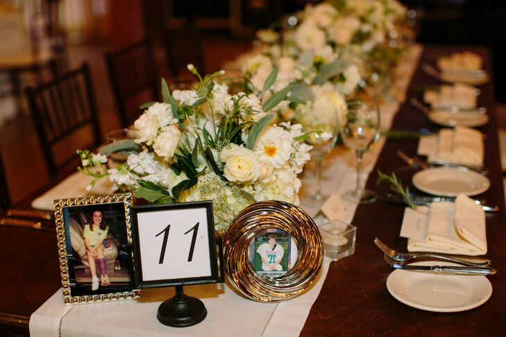 Framed Table Numbers with Childhood Photos