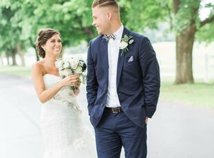 Preppy blue-and-white prints, vintage furnishings gold accents came together to give Katelyn and Jordan's wedding a playful, Kate Spade-inspired feel.