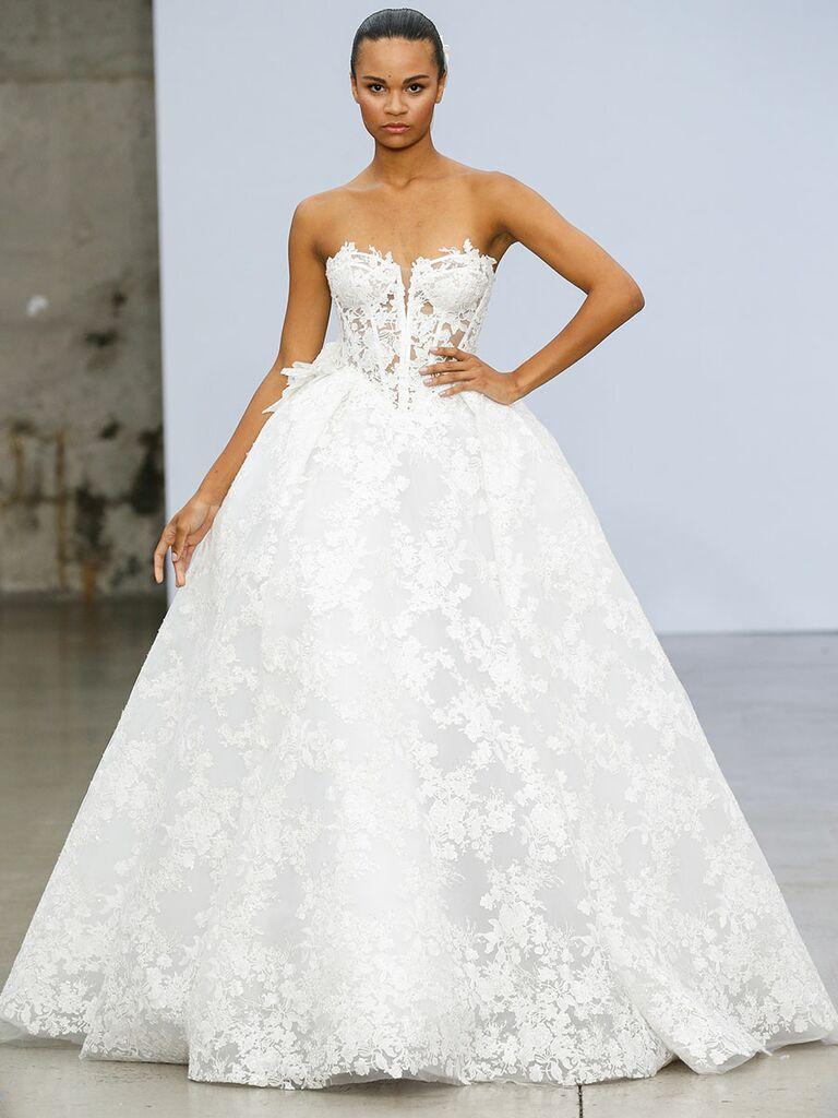Pnina Tournai wedding dress strapless lace ball gown