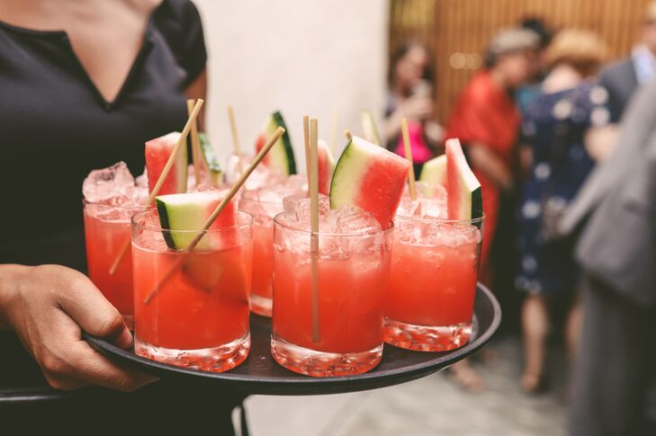 Passed Cocktails Garnished with Watermelon Slices
