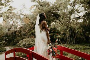 Wedding Photoshoot with the Bride at the Miami Beach Botanical Garden in Miami Beach, Florida