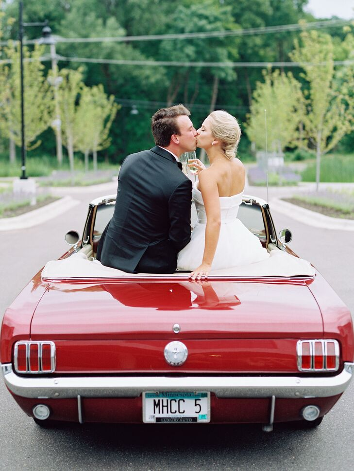 Classic Couple in Red Mustang Convertible
