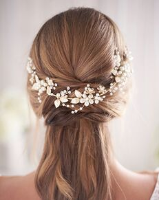 Dareth Colburn Camryn Pearl & Floral Hair Vine (TI-3375) Gold, Silver Headband