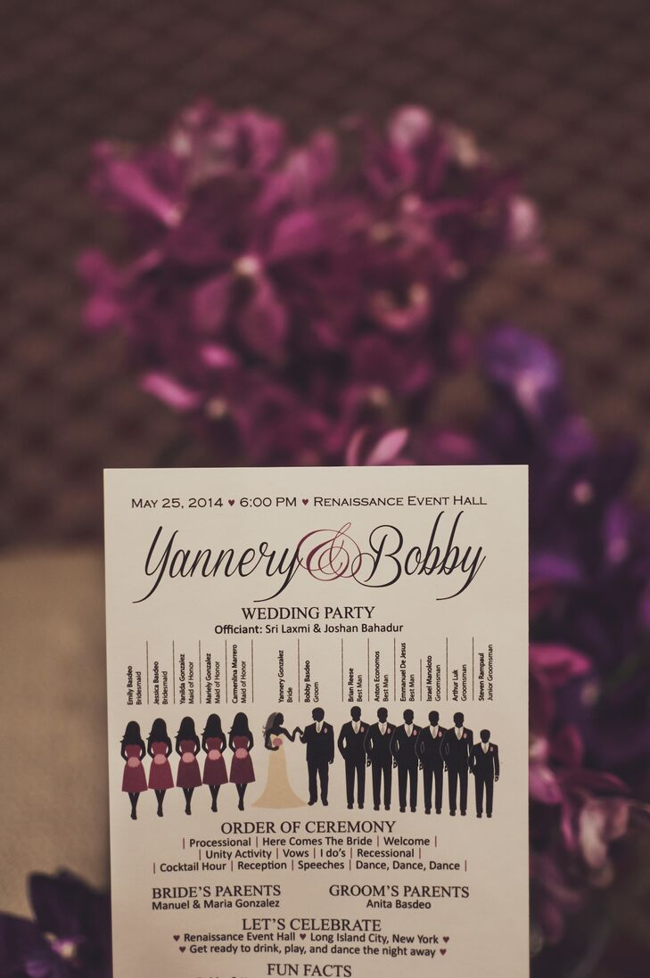 The programs had silhouette illustrations of the wedding party.