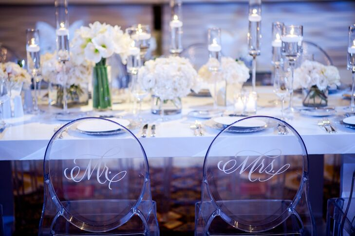 Modern Clear Reception Chairs With Monogram