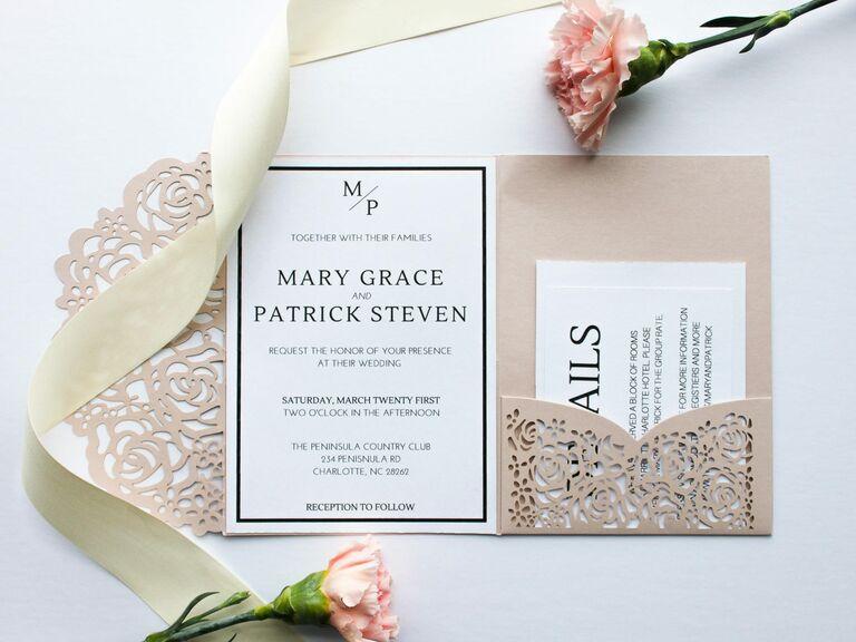 Etsy romantic pink spring wedding invitation