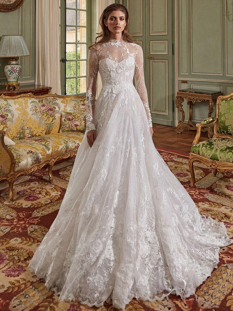 Galia Lahav long sleeve lace gown