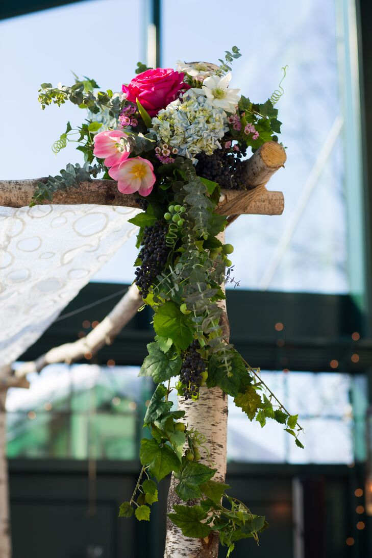 Birch Huppah with Cascading Vine and Berry Arrangements