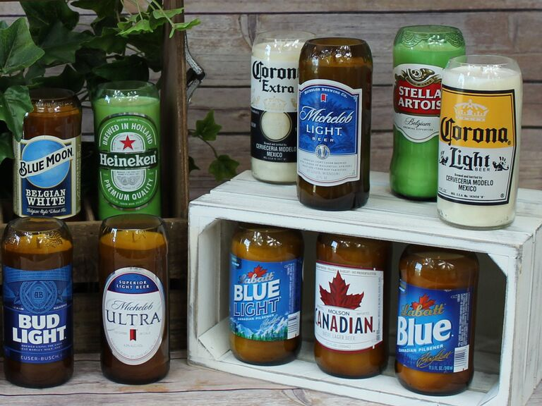 Beer bottle candle father of the groom gift