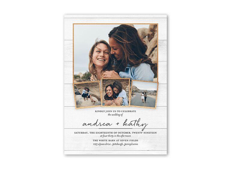 Rustic wedding invitation with photo