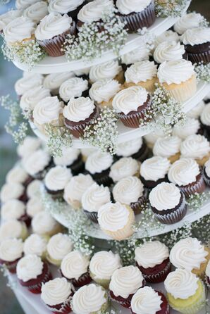 Cupcake Display with Baby's Breath Accents