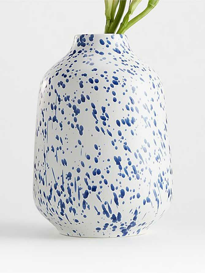 Blue and white speckled china vase