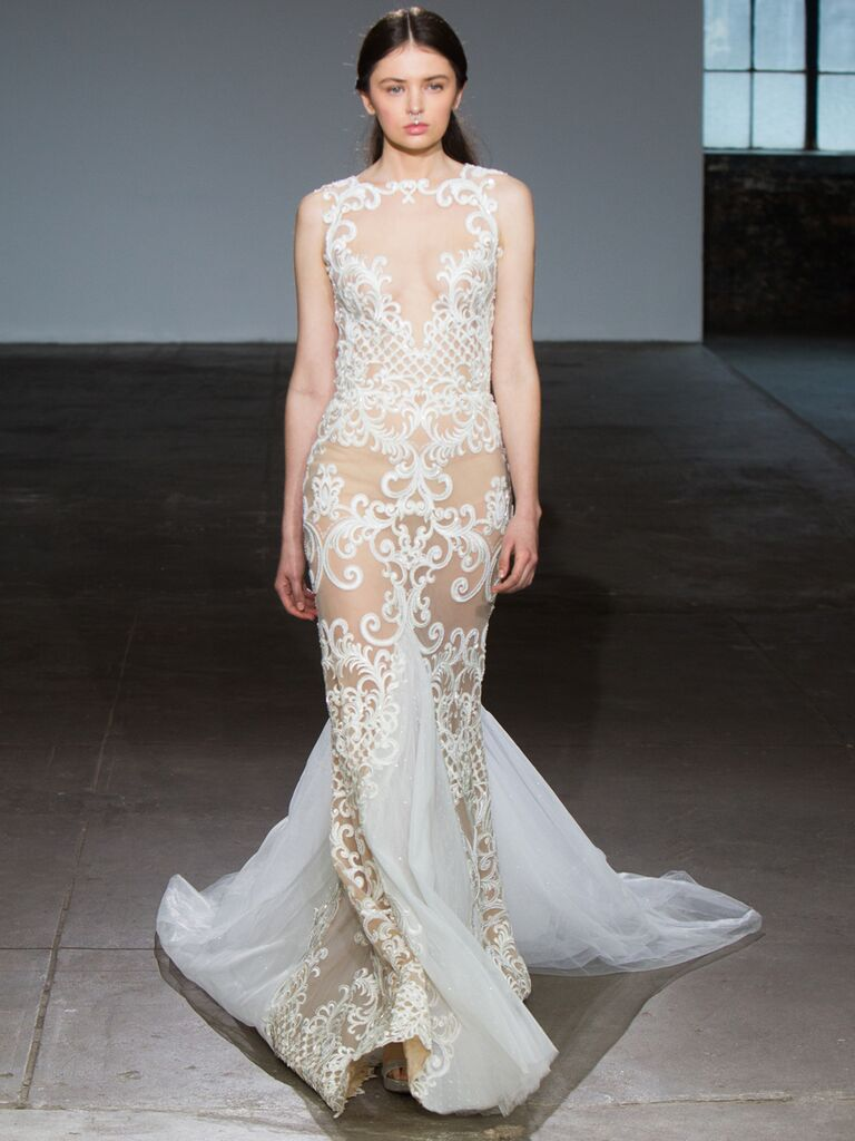 Adam Zohar Spring 2019 Collection sheer fit-and-flare wedding dress with high neckline and illusion scrollwork embroidery