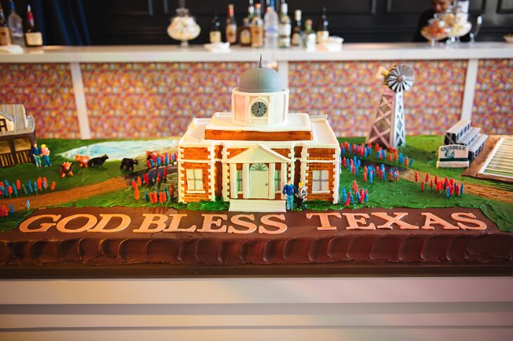 Walter's eight-foot-long groom's cake displayed a scene from small-town Texas, complete with a mansion, a windmill and cows.