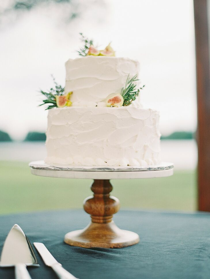 White Two-Tier Wedding Cake at Wye River Estate