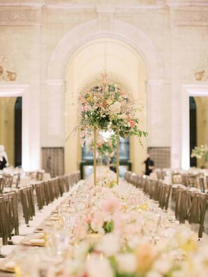 Tall Blush Centerpieces at Detroit Institute of Arts Wedding