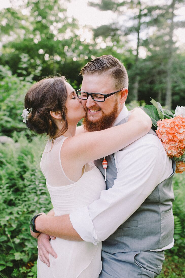"""""""We wanted our theme to be nautical, but not obnoxiously so,"""" Holly Walton (23 and an administrative assistant) says of her wedding to Kenneth Roe (23"""