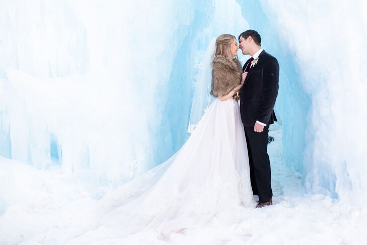"""Only immediate family attended JaleyMeibos and Aaron Weinheimer's intimate winter wedding at the Ice Castles in Dillon, Colorado. """"It's actually funn"""