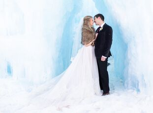 "Only immediate family attended Jaley	Meibos and Aaron Weinheimer's intimate winter wedding at the Ice Castles in Dillon, Colorado. ""It's actually funn"