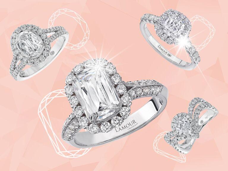 L'Amour Crisscut engagement rings