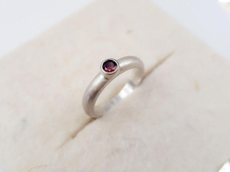 minimalist garnet engagement ring