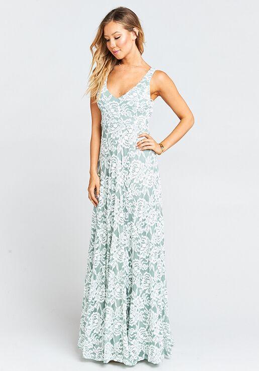 794833722549 Show Me Your Mumu Jenn Maxi Dress - Lovers Lace Silver Sage V-Neck  Bridesmaid