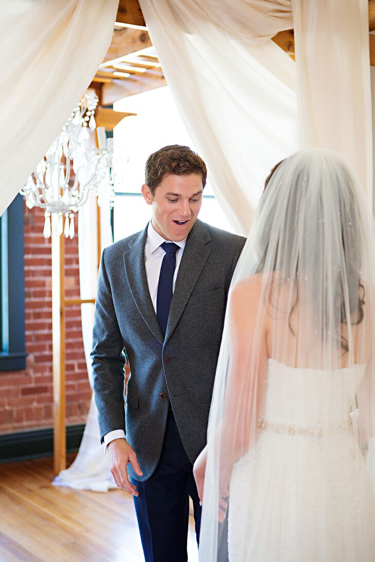 """Andrew never lets a night go by without a big show and his wedding was no exception. Since Andrew was an Army ranger, he had many other ranger and Special Forces friends at the wedding. """"All of a sudden, the DJ calls 'all unarmed men' to the dance floor to catch the garter,"""" Alexis says. """"I thought that was weird, but sat down on a chair on the dance floor. Then, out of nowhere, Andrew and four other guys come storming in with airsoft guns. They did a standard room clearing like they would do in the military. They even had a firecracker for when they acted like they were knocking down a door!"""" Andrew acted like Alexis's dress was a potential bomb and they were unarming it. """"It sounds silly but everyone loved it and thought it was hysterical,"""" Alexis says."""