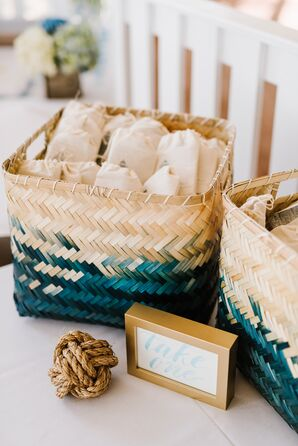 Turquoise Woven Grass Favor Baskets