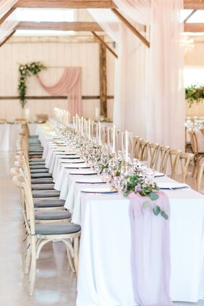 Romantic Dining Table with Purple Runner and Wood Chiavari Chairs