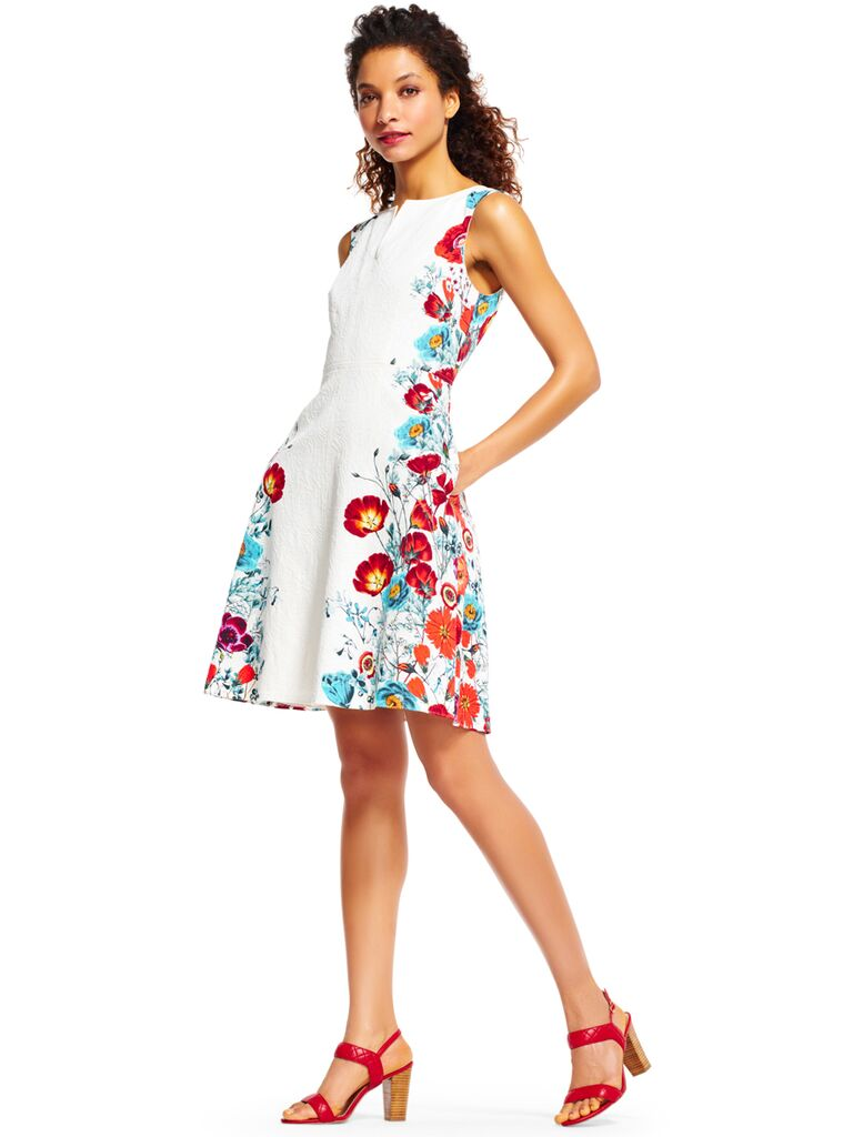 Adrianna Papell Fl Fit And Flare Dress With Print Trim Perfect For A Summer Wedding