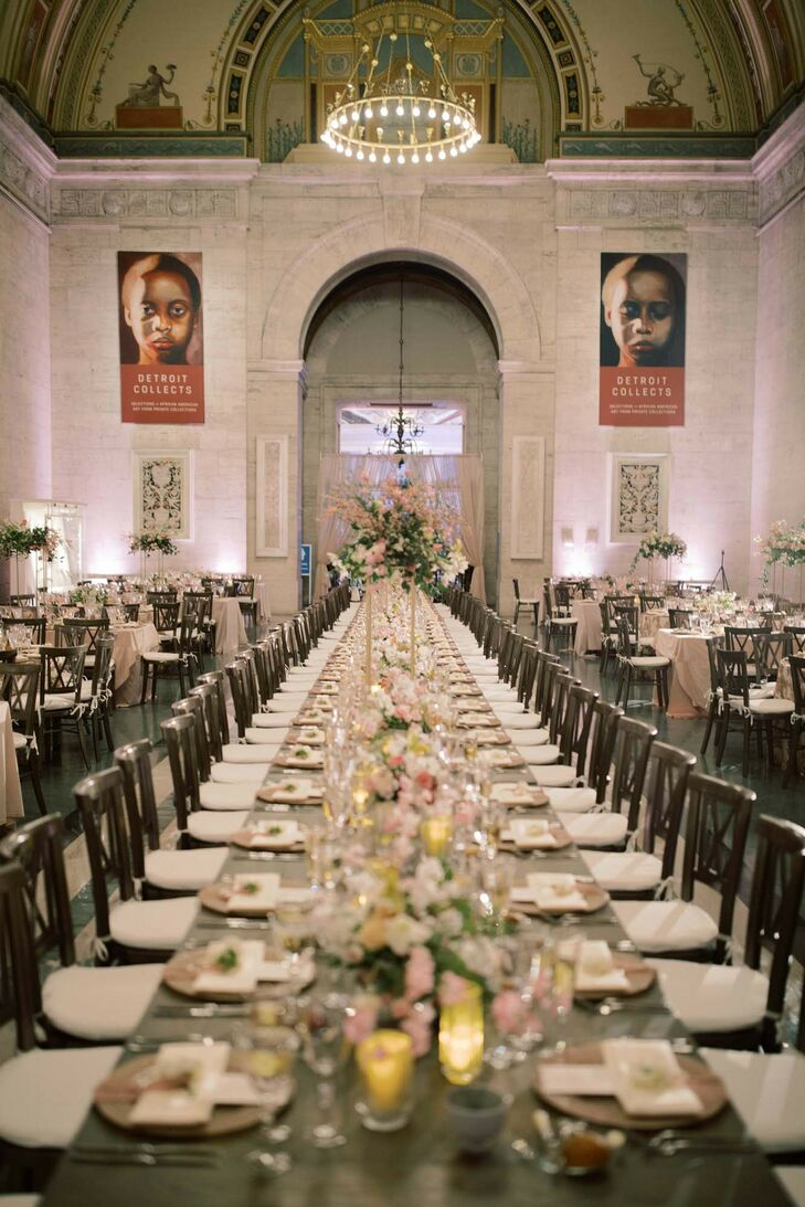 Long Reception Table at Detroit Institute of Arts Wedding