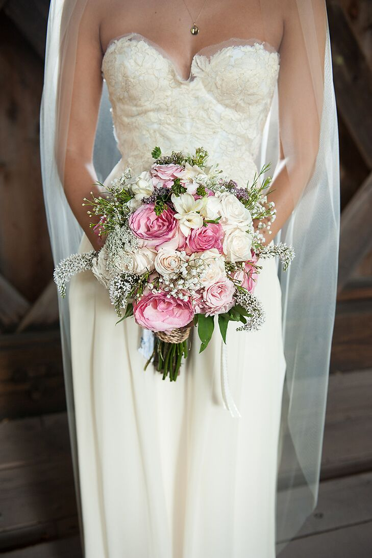 Pink and White Rose and Garden Rose Bouquet