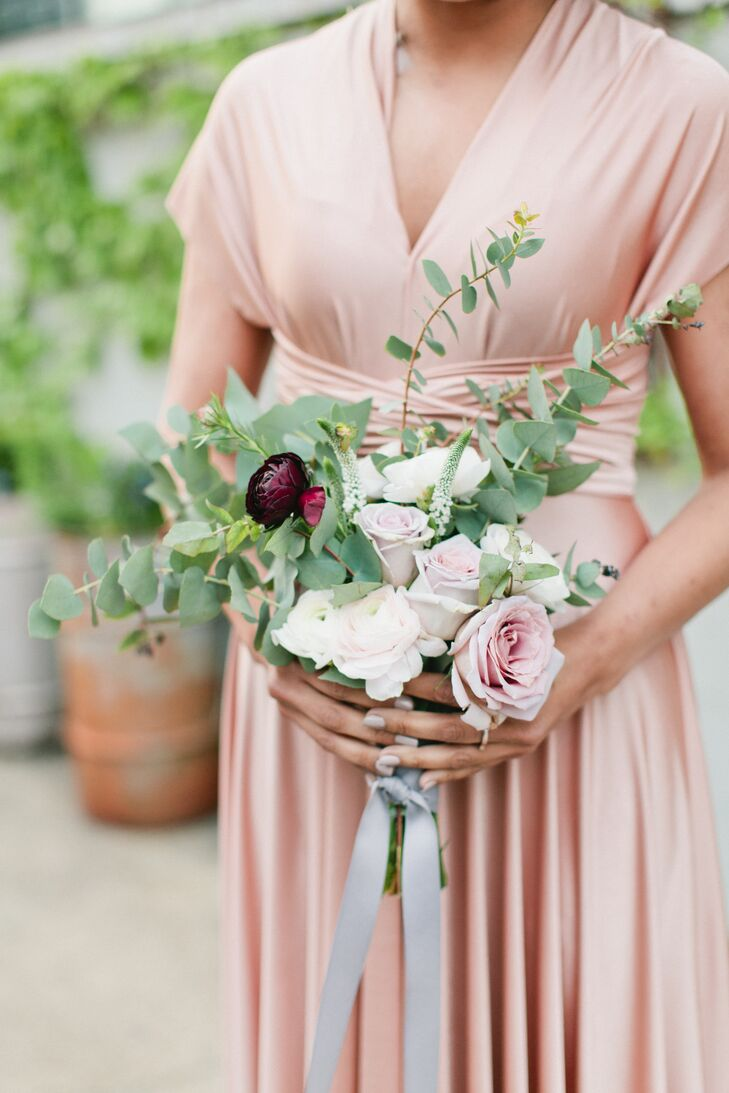 Modern Ranunculus, Rose and Eucalyptus Bouquet