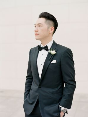 Groom in Tux at Segerstrom Center for the Arts in Costa Mesa, California