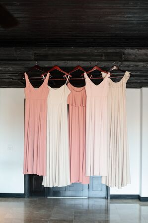 Dusty-Rose and Nude Bridesmaid Dresses