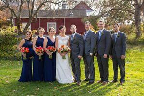 Navy David's Bridal Bridesmaid Dresses