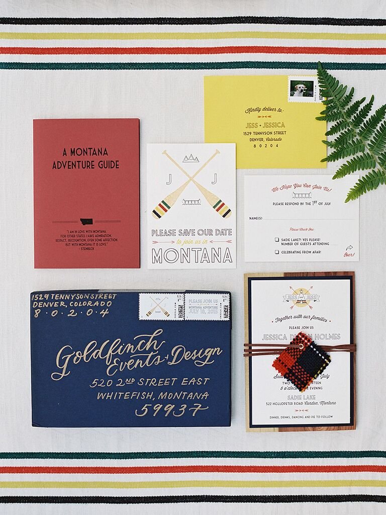 Camp-inspired wedding invitation idea