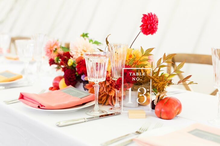 Vibrant Place Setting at Rooftop Garden Wedding in Brooklyn