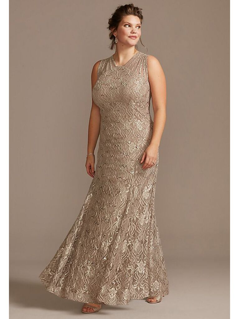 Tapue sequin mermaid dress with illusion neckline
