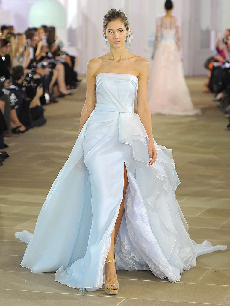 Pale blue Ines DiSanto​ strapless wedding gown with painted floral organza