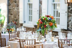 Ivory Reception Table With Arrangements