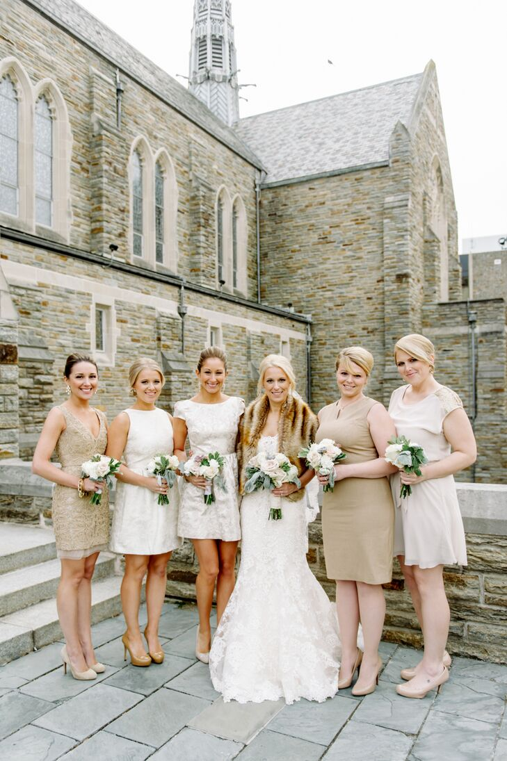Ivory And Champagne Bridesmaid Dresses