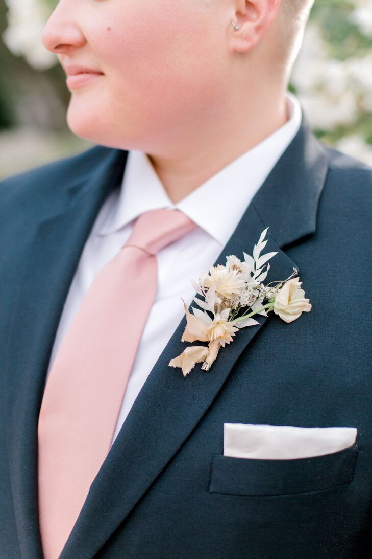Romantic Boutonniere and Pink Tie