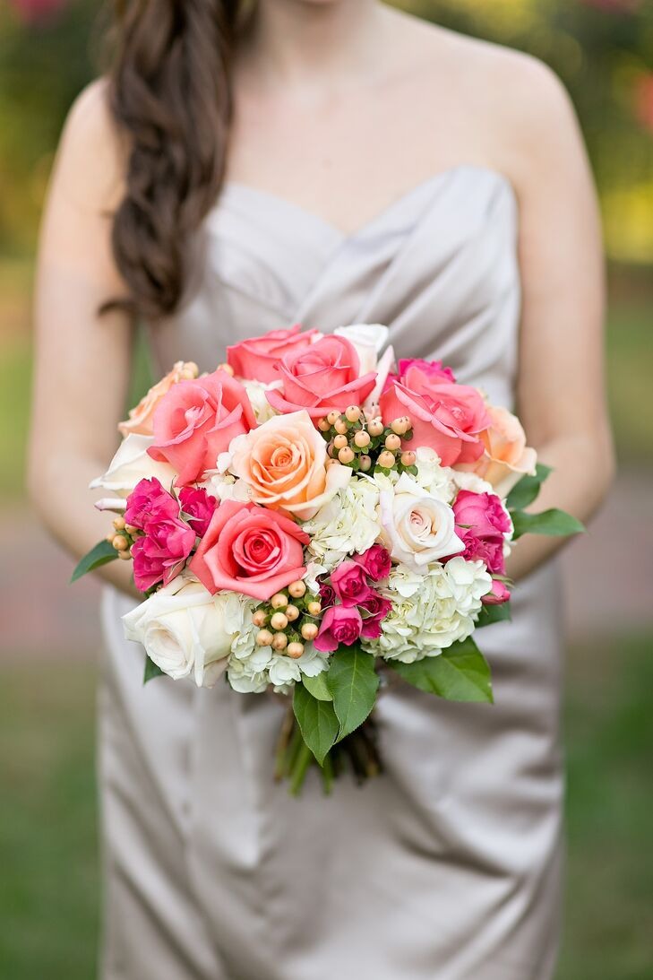 Coral and Ivory Rose Bridesmaid Bouquet
