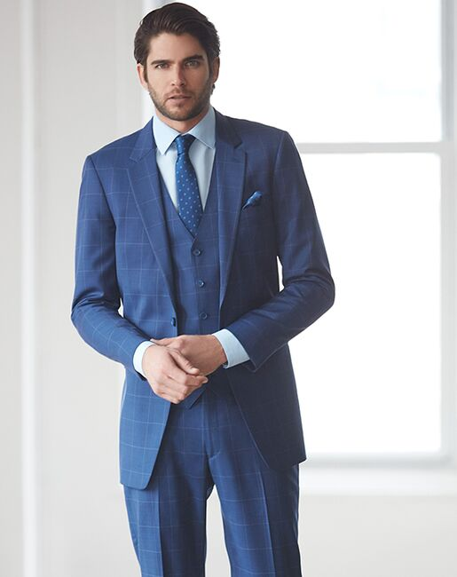 Allure Men Cobalt Window Pane Blue Tuxedo