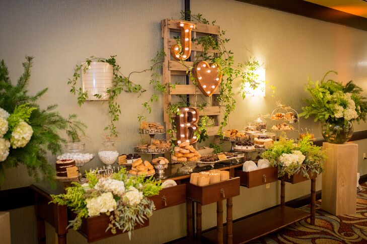 The sister of Bianca and JP's florist crafted confections for their extensive dessert table, which included triple-chocolate mousse, caramel popcorn, chocolate cupcakes, cookies and more.