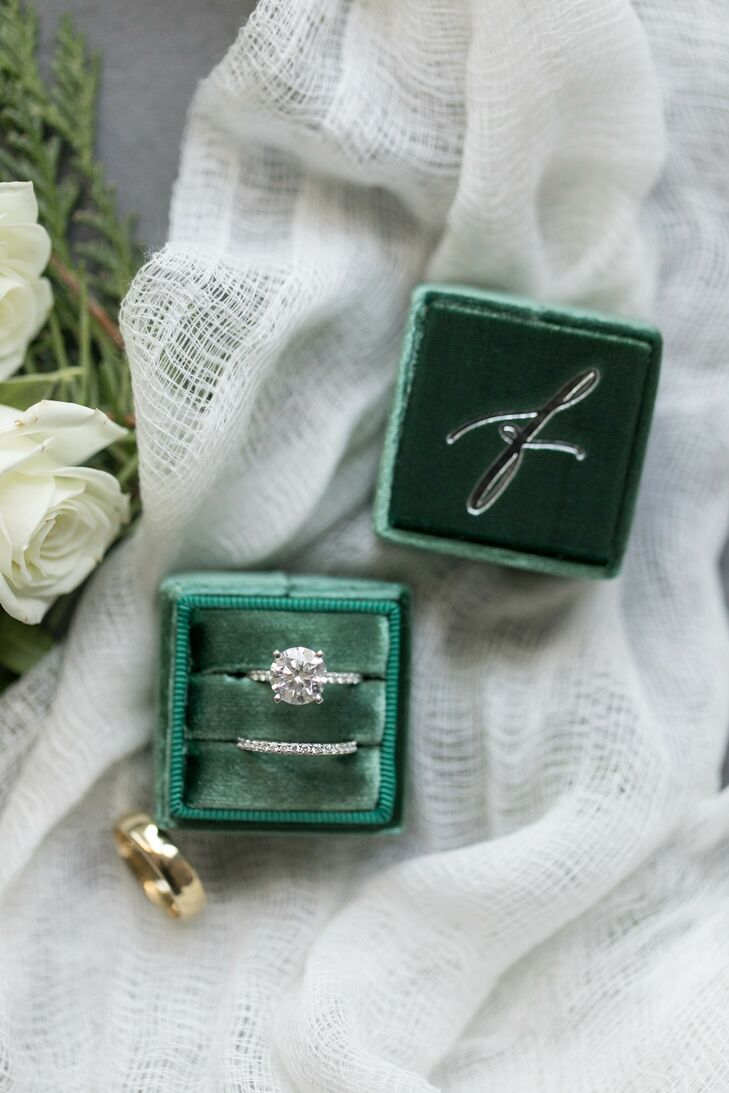 Emerald Ring Box for Wedding at The Langham Hotel in Chicago