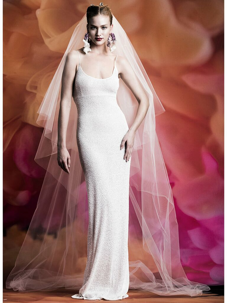 Naeem Khan wedding dress column dress with scoop neck