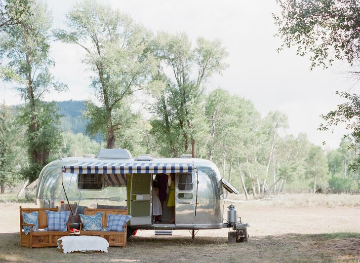"""""""As a surprise, my mom and wedding planner arranged for a vintage silver Airstream trailer for the bridesmaids, flower girls and me to wait in prior to the ceremony,"""" Anna says."""