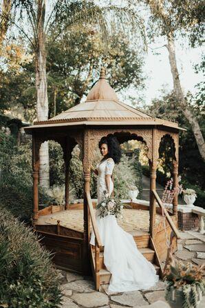 Bride Poses on Gazebo at The Houdini Estate in Los Angeles, California